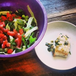 fish with ginger, corriander, LJ and pepper with a salad of coloured chard, mum lettuce, tomato, fresh herbs, pepper and ACV.