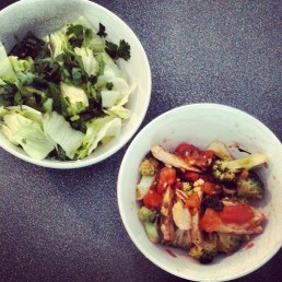 Chicken in garlic, basil and seaweed salt, brocholli, tomato with a lettuce, coriander and ACV salad.