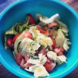 simple salad of lettuce, tomato, basil, mint, ACV, seaweed salt & pepper
