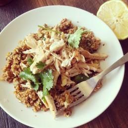 """chicken on curried cauliflower """"rice"""" (garlic, ginger, paprika, cumin, garam marsala, coriander)"""