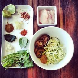 "Tom Yum ingredients: Lime, chilli, morroccan spice, paprika, garlic, ginger, mint, basil, corrianda, chicken, zuccihini ""noodles"", tomato"