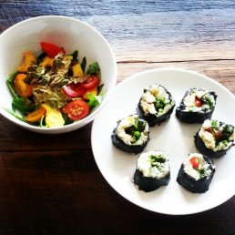 Sushi and side salad