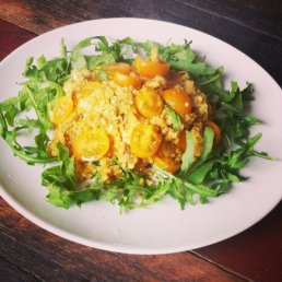 Cauliflower cous cous with chicken rocket and yellow cherry tomatoes