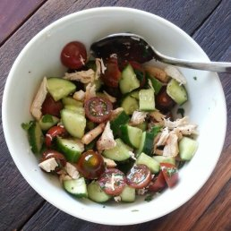 Chicken salad with cherry tomatoes and celery
