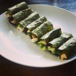 Salad of chicken, celery, rocket, parsley wraped in nori