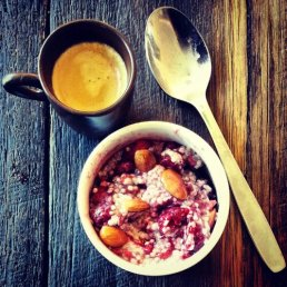 coffee with nut berry chia pudding