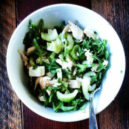 Green Chicken salad with almonds