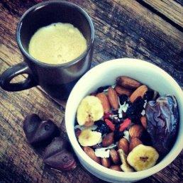 Homemade trail mix, raw chocolate and coffee