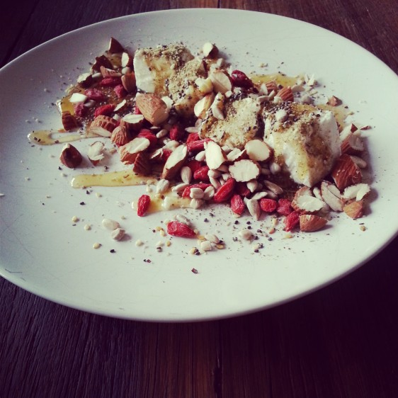 Goats cheese with goji, almond, sunflower, chia, zaatar and honey